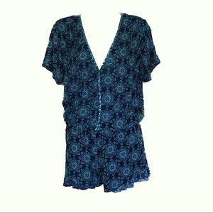 Ella Moss Blue & Teal Print Romper Size M